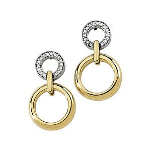 14Kt Yellow & White Gold Diamond Earrings