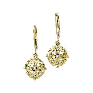 14Kt Yellow Gold Diamond Filigree Earrings