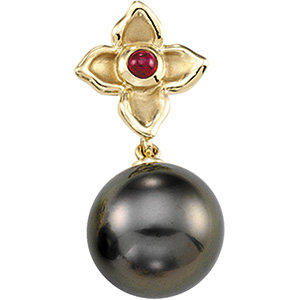 14Kt Yellow Gold Tahitian Pearl & Ruby Pendant
