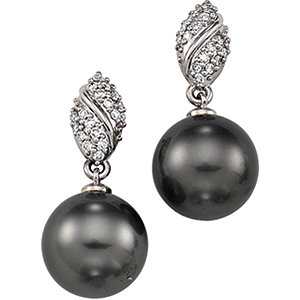 14Kt White Gold Diamond & Tahitian Pearl Earrings