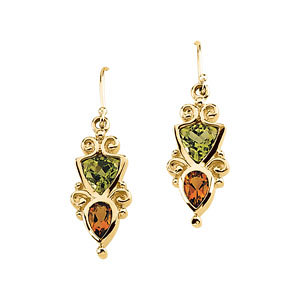14Kt Yellow Gold Genuine Multicolor Gemstone Earrings