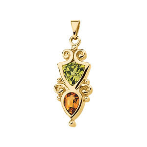 14Kt Yellow Gold Genuine Peridot and Citrine Pendant