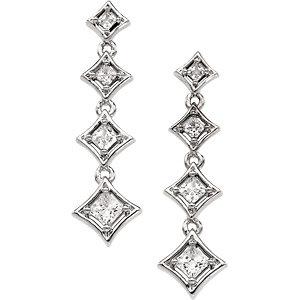 14Kt White Gold Journey Diamond Earrings