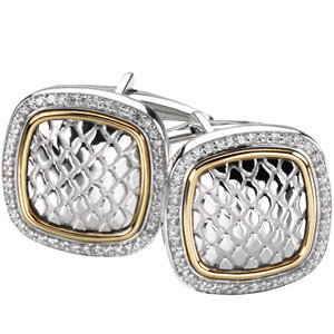 Sterling Silver & 14Kt Yellow Gold Diamond Cuff Links