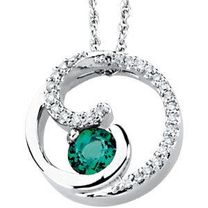 14Kt White Gold Diamond & Emerald Pendant