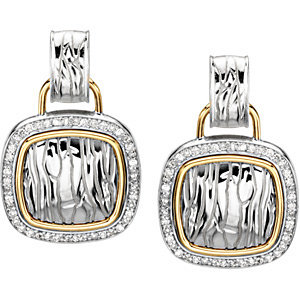 Sterling Silver & 14Kt Yellow Gold Diamond Earrings