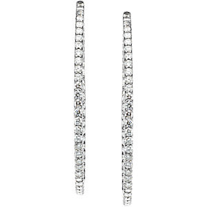 14Kt White Gold Diamond Inside/Outside Hoop Earrings