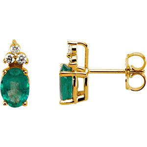 14Kt Yellow Gold Genuine Emerald & Diamond Earrings
