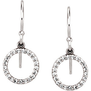 14Kt White Gold Diamond Circle Earings