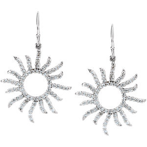 14Kt White Gold Diamond Sun Burst Earrings