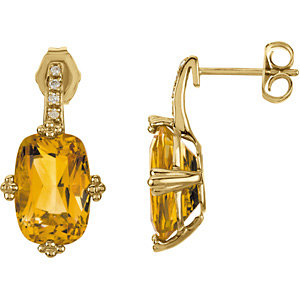 14Kt Yellow Gold Genuine Citrine & Diamond Earrings