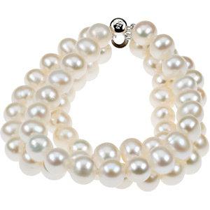 Sterling Silver Freshwater Cultured Pearl Triple Strand Bracelet
