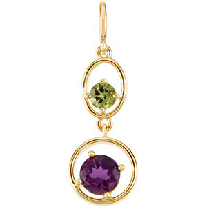 14Kt Yellow Gold Genuine Peridot & Amethyst Pendant