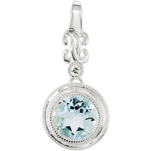 14Kt White Gold Genuine Aquamarine & Diamond Pendant