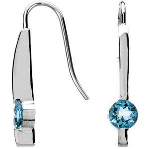 14Kt White Gold Genuine Aquamarine Earrings