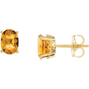 14Kt Yellow Gold Genuine Citrine Earrings