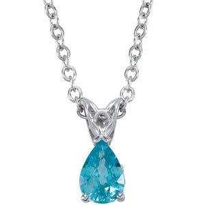 14Kt White Gold Blue Zircon Necklace