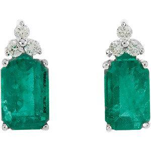 14Kt White Gold Genuine Emerald & Diamond Earrings