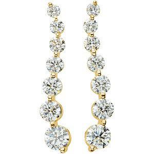 14Kt Yellow Gold Journey Diamond Earrings