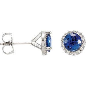 14Kt White Gold Diamond & Blue Sapphire Earrings