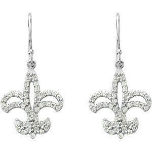 14Kt White Gold Diamond Fleur-de-lis Earrings