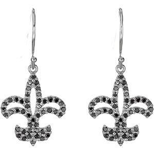 14Kt White Gold Black Diamond Fleur-de-lis Earrings