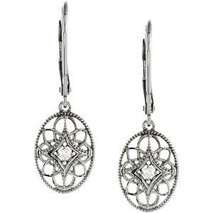 Sterling Silver Diamond Lever Back Earrings