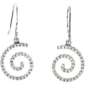 14Kt White Gold Diamond Spiral Earrings