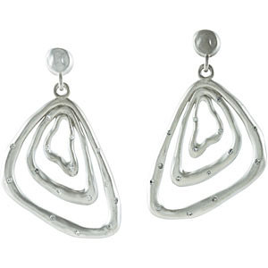 Sterling Silver & 14K White Gold Diamond Earrings