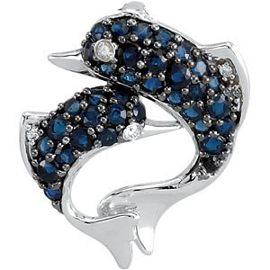 14Kt White Gold Sapphire & Diamond Dolphin Pendant