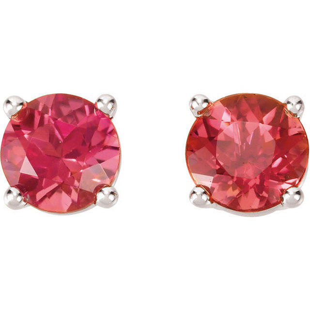 14Kt White Gold Round Pink Tourmaline Earrings