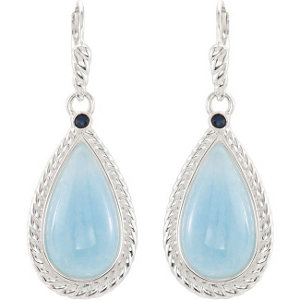 Genuine Milky Aquamarine & Blue Sapphire Earrings