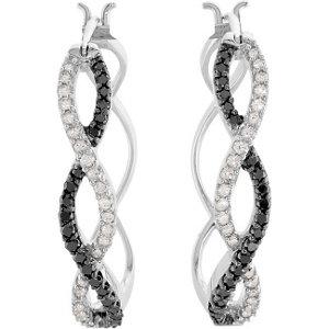 14Kt White Gold Black & White Diamond Earrings