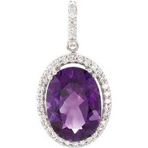 14Kt White Gold Amethyst & Diamond Pendant