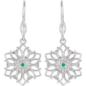 Sterling Silver Emerald & Diamond Earrings