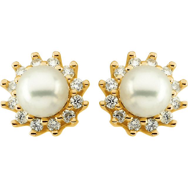 14Kt Yellow Gold Akoya Cultured Pearl & Diamond Earrings