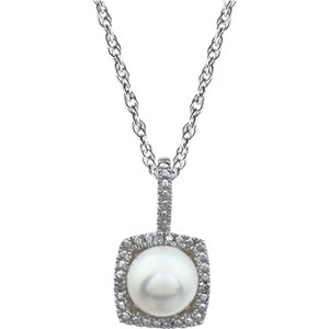 Sterling Silver Freshwater Cultured Pearl & Diamond Necklace
