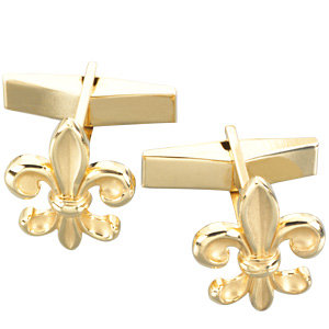 14Kt Yellow Gold Fleur-de-Lis Cuff Links