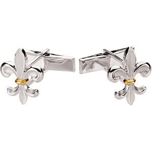 Two Tone Fleur-de-Lis Cuff Links