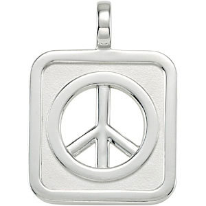 Sterling Silver Rectangle Shaped Peace Sign Pendant