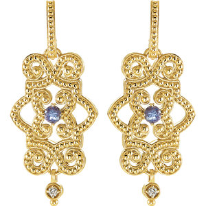 14Kt Yellow Gold Tanzanite & Diamond Dangle Earrings
