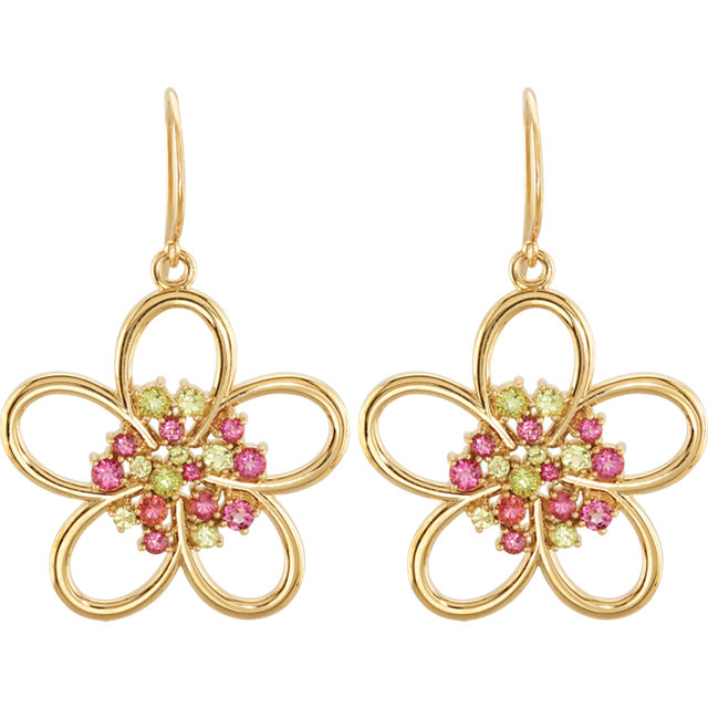 14Kt Yellow Gold Floral Design Earrings
