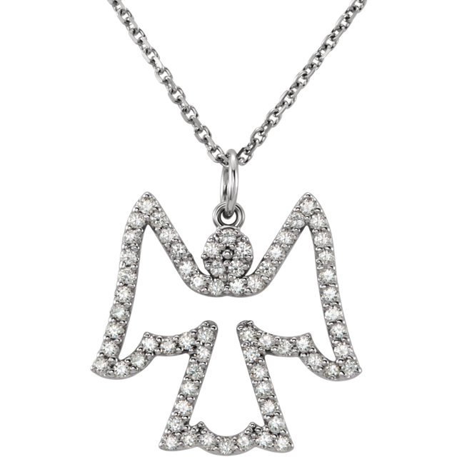 14Kt White Gold Diamond Angel Necklace