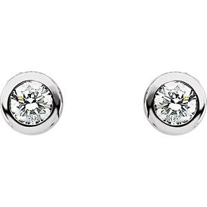 14Kt White Gold Diamond Friction Post Stud Earrings