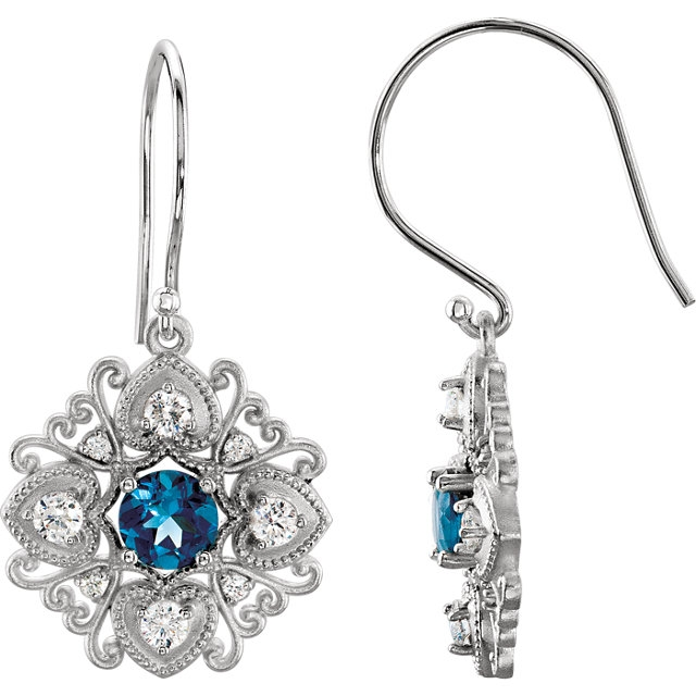 14Kt White Gold London Blue Topaz Vintage-Inspired Drop Dangle Earrings