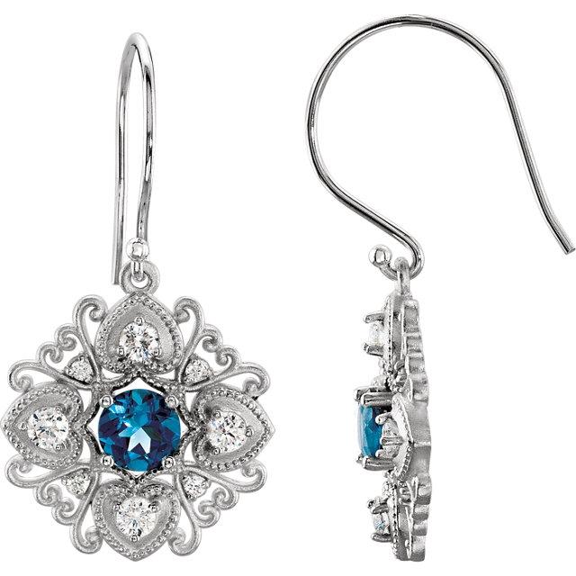 14Kt White Gold London Blue Topaz Vintage-Inspired Drop Dangle Earrings