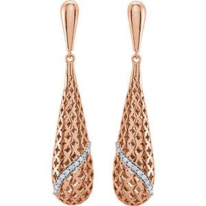 14Kt Rose Gold Diamond Teardrop-Shaped Earrings