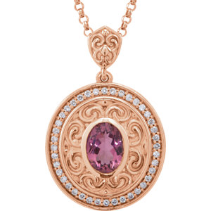 14Kt Rose Gold Pink Tourmaline & Diamond Necklace