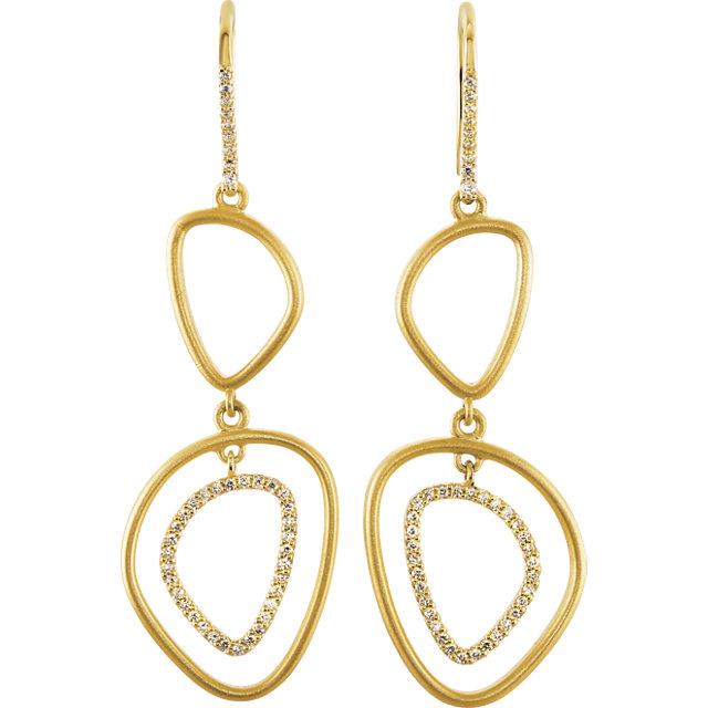 14Kt Yellow Gold Open Silhouette Dangle Earrings