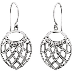 14Kt White Gold Diamond Dangle Earrings